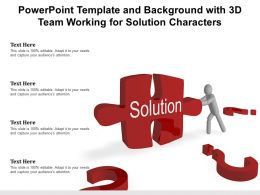 Powerpoint Template And Background With 3d Team Working For Solution Characters