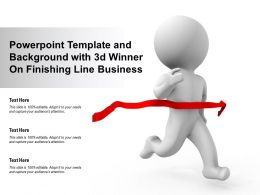 Powerpoint Template And Background With 3d Winner On Finishing Line Business