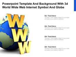 Powerpoint Template And Background With 3d World Wide Web Internet Symbol And Globe