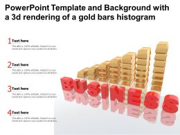 Powerpoint Template And Background With A 3d Rendering Of A Gold Bars Histogram