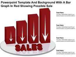 Powerpoint Template And Background With A Bar Graph In Red Showing Possible Sale