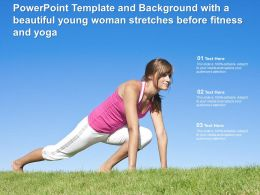 Powerpoint Template And Background With A Beautiful Young Woman Stretches Before Fitness Yoga