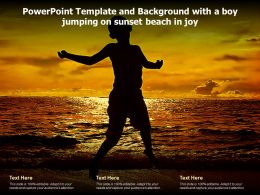 Powerpoint Template And Background With A Boy Jumping On Sunset Beach In Joy