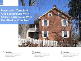 Powerpoint Template And Background With A Brick Farmhouse With The Shadow Of A Tree