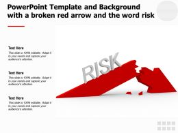 Powerpoint Template And Background With A Broken Red Arrow And The Word Risk