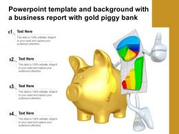 Powerpoint Template And Background With A Business Report With Gold Piggy Bank