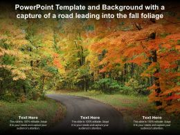 Powerpoint Template And Background With A Capture Of A Road Leading Into The Fall Foliage
