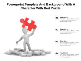 Powerpoint Template And Background With A Character With Red Puzzle Risk