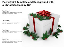 Powerpoint Template And Background With A Christmas Holiday Gift