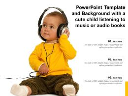 Powerpoint Template And Background With A Cute Child Listening To Music Or Audio Books