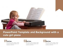 Powerpoint Template And Background With A Cute Girl Piano
