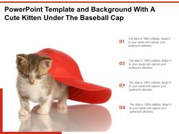 Powerpoint Template And Background With A Cute Kitten Under The Baseball Cap