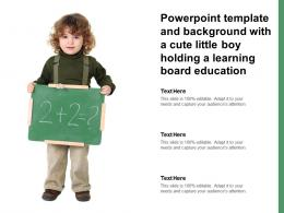 Powerpoint Template And Background With A Cute Little Boy Holding A Learning Board Education