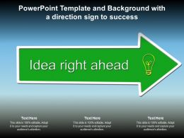 Powerpoint Template And Background With A Direction Sign To Success
