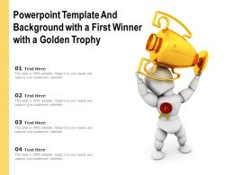 Powerpoint Template And Background With A First Winner With A Golden Trophy