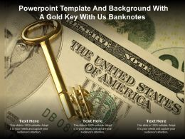 Powerpoint Template And Background With A Gold Key With Us Banknotes