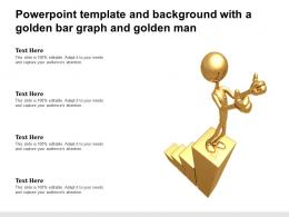 Powerpoint Template And Background With A Golden Bar Graph And Golden Man