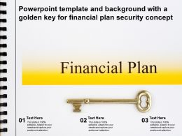 Powerpoint Template And Background With A Golden Key For Financial Plan Security Concept