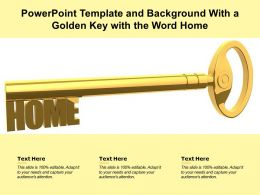 Powerpoint Template And Background With A Golden Key With The Word Home