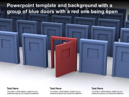 Powerpoint Template And Background With A Group Of Blue Doors With A Red One Being Open