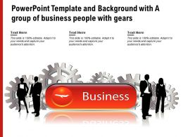 Powerpoint Template And Background With A Group Of Business People With Gears