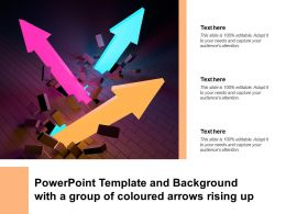Powerpoint Template And Background With A Group Of Coloured Arrows Rising Up