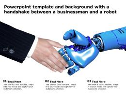 Powerpoint Template And Background With A Hand Shake Between A Business Man And A Robot