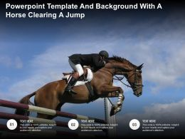 Powerpoint Template And Background With A Horse Clearing A Jump