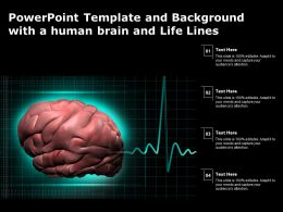 Powerpoint Template And Background With A Human Brain And Life Lines