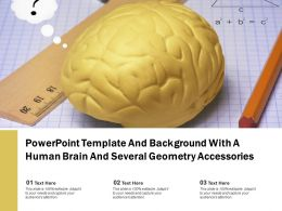 Powerpoint Template And Background With A Human Brain And Several Geometry Accessories