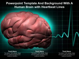 Powerpoint Template And Background With A Human Brain With Heartbeat Lines