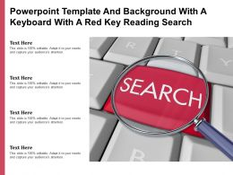 Powerpoint Template And Background With A Keyboard With A Red Key Reading Search