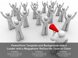 Powerpoint Template And Background With A Leader With A Megaphone Rallies His Team To Cheer