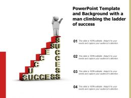 Powerpoint Template And Background With A Man Climbing The Ladder Of Success