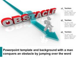 Powerpoint Template And Background With A Man Conquers An Obstacle By Jumping Over The Word