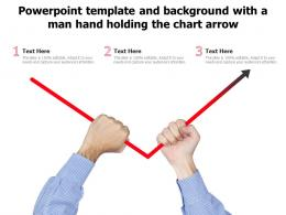Powerpoint Template And Background With A Man Hand Holding The Chart Arrow