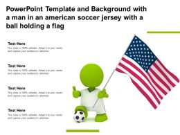 Powerpoint Template And Background With A Man In An American Soccer Jersey With A Ball Holding A Flag