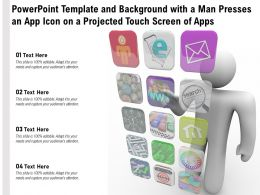 Powerpoint Template And Background With A Man Presses An App Icon On A Projected Touch Screen Of Apps