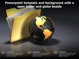 Powerpoint Template And Background With A Open Folder And Globe Beside
