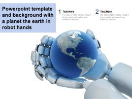 Powerpoint Template And Background With A Planet The Earth In Robot Hands