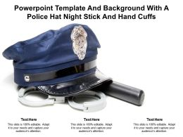 Powerpoint Template And Background With A Police Hat Night Stick And Hand Cuffs