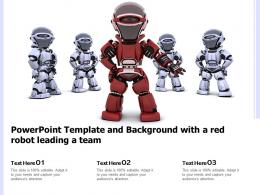 Powerpoint Template And Background With A Red Robot Leading A Team