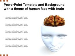 Powerpoint Template And Background With A Theme Of Human Face With Brain