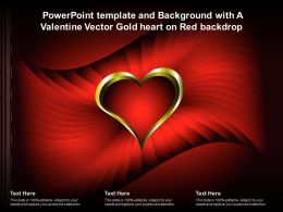 Powerpoint Template And Background With A Valentine Vector Gold Heart On Red Backdrop