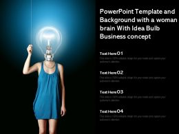 Powerpoint Template And Background With A Woman Brain With Idea Bulb Business Concept