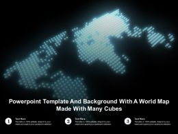 Powerpoint Template And Background With A World Map Made With Many Cubes