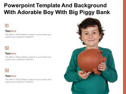 Powerpoint Template And Background With Adorable Boy With Big Piggy Bank