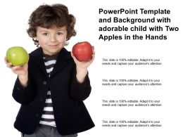 Powerpoint Template And Background With Adorable Child With Two Apples In The Hands
