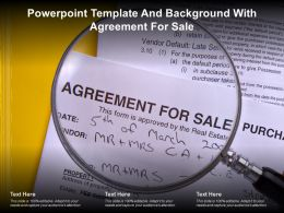 Powerpoint Template And Background With Agreement For Sale