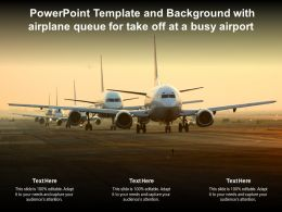 Powerpoint Template And Background With Airplane Queue For Take Off At A Busy Airport